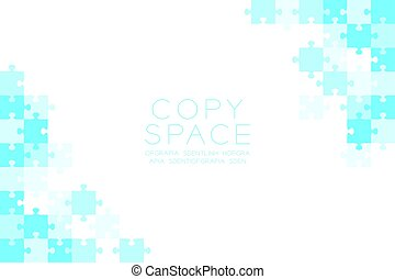 Jigsaw puzzle blue color illustration pattern isolated on white background with copy space, vector eps10