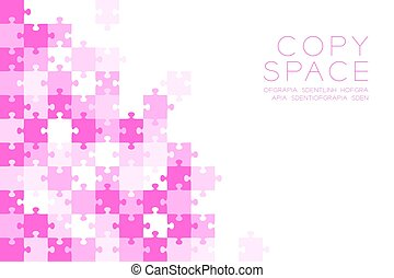 Jigsaw puzzle pink color illustration pattern isolated on white background with copy space, vector eps10