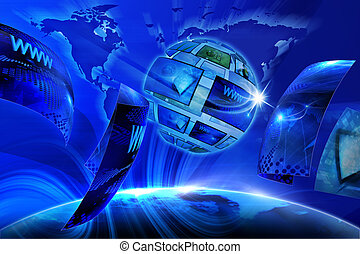 Global Virtual Gallery - Blue internet background Global and...