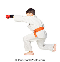 Aikido boyMartial Arts - A young boy aikido fighter in white...