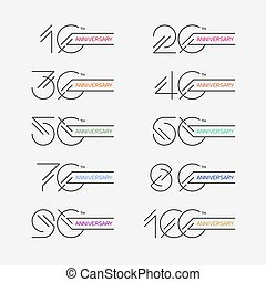 Set of anniversary signs from 10th to 100th. Stock vector...