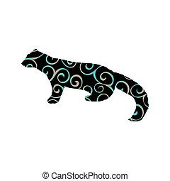 Marten wildlife color silhouette animal. Vector Illustrator.