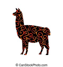 Lama mammal color silhouette animal