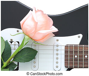 Rose guitar - Pink roses on electric guitar