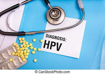 azul, arquivos, paciente, médico, hpv, escrito, palavra,...
