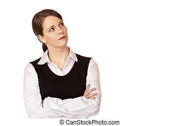 Young businesswoman looks up into the corner