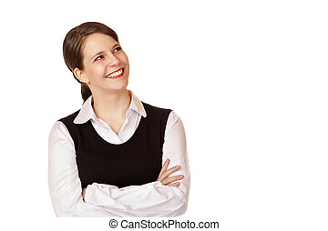 Young happy businesswoman looks up into the corner