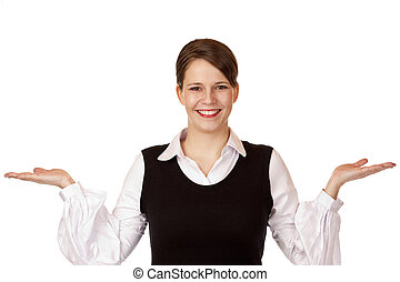 Young happy businesswoman holds both hands for advertisment....
