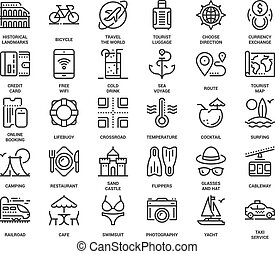 Leisure and Tourism Icons - Vector set of leisure and...