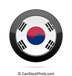 Flag of South Korea. Shiny black round button.