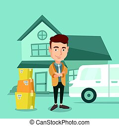 Man moving to house vector illustration.