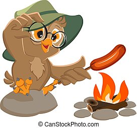 Picnic owl scout frying sausage on fire. Isolated on white...