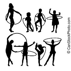 Girl with Hula Hoop Activity Silhouettes - Girl with Hula...