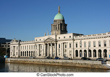 Dublin - Custom House - beautiful architecture landmark of...