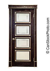 Brown door isolated - Brown wooden vintage door with glass...