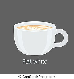 Flat White Coffee with Latte Art on Foam Vector - Porcelain...