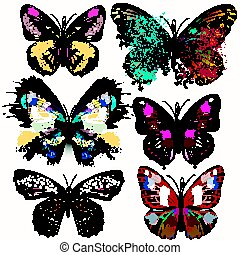 Collection of vector realistic butterflies for design.eps -...