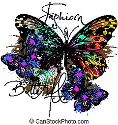Fashion illustration with butterflies in colorful style.eps...