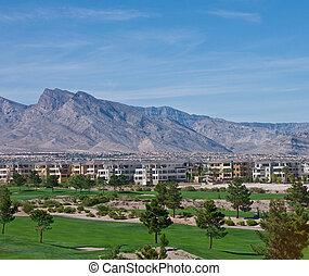 Desert Condos Between Golf Course and Mountain Range