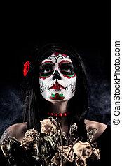 Sugar skull girl with dead roses - Sugar skull girl with...