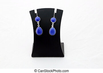Beautiful blue gemstone silver ear rings
