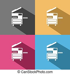 Photocopier icon on colored backgrounds
