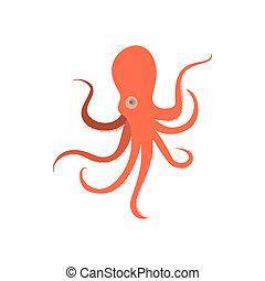 Cartoon octopus monster. Illustration of octopus baby....