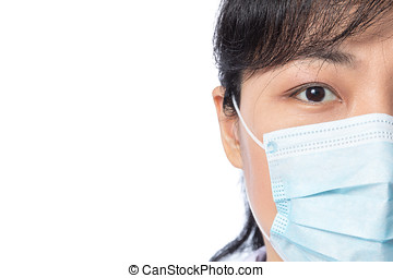 Asian female doctor wearing a mask