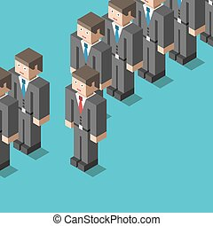 Standing out from crowd - Unique businessman with red tie...