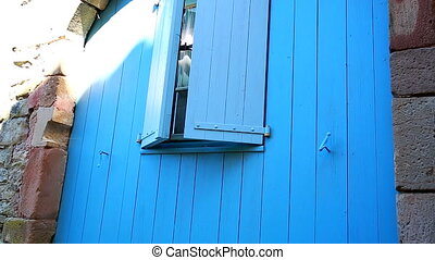 Closed Blue Shutters - Closed Blue Wooden Shutters With...