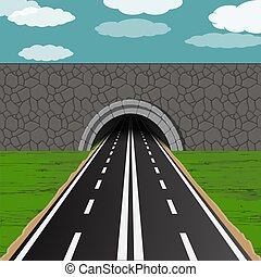 tunnel with road illustration - dark tunnel with two way...