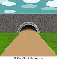 tunnel with road illustration - dark tunnel with sandy one...