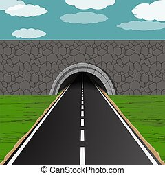 tunnel with road illustration - dark tunnel with one way...