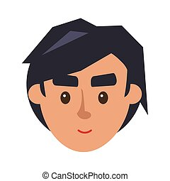 Physiognomy of Boy. Brunet Haired Man Face Front -...