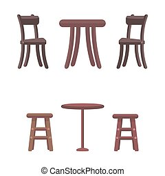 Wooden Chairs and Round Tables Isolated on White