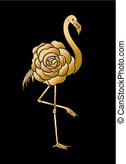 Cute graphic flamingo in the side view with big camellia...