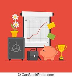 Concept Business Flip Chart Cup Suitcase Safe Piggy Bank