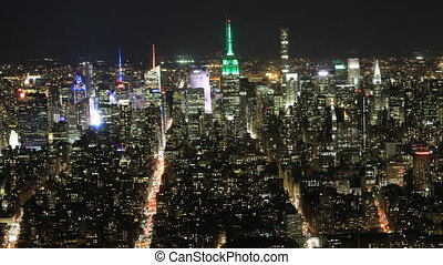 Wide timelapse of Manhattan at night - A Wide timelapse of...