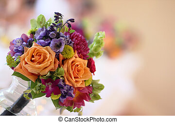 Wedding Boquet on Table - One of the bridesmaids floral...