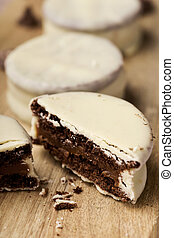 argentinean-uruguayan alfajores - closeup of some...