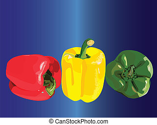 Three peppers in a row - Vector graphic illustration of...