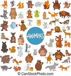 cartoon animal characters huge set - Cartoon Illustration of...