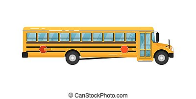 Yellow school bus isolated vector illustration on white...