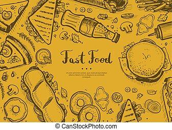 Fast food retro restaurant menu cover