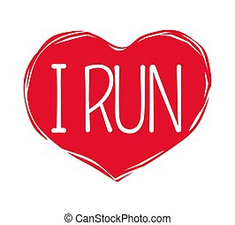 I Love Run Text in Red Hand Drawn Heart. Logo Sign - I love...