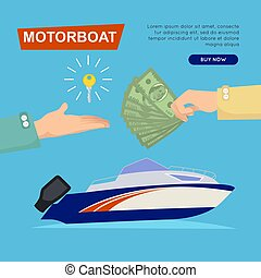 Buying Motorboat Online. Boat Selling. Web Banner. - Buying...