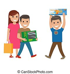 Family Shopping Illustration. Mother and Sons