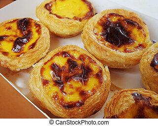 Portuguese egg tart - Close up of portuguese egg tart