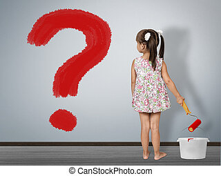 Kid question concept. Child girl draws question mark on wall