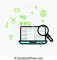 Web analytics and SEO - SEO flat style line vector. Laptop...